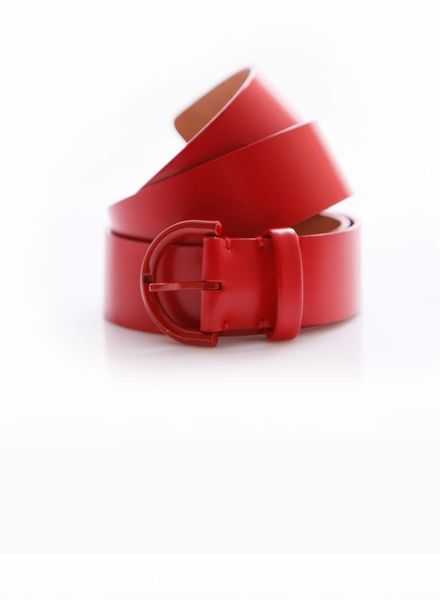 Louis Vuitton Louis Vuitton, Red matte leather belt with red buckle in size 90.