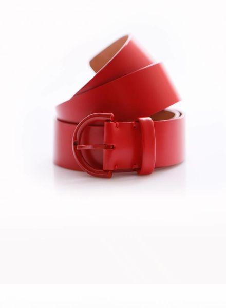 Louis Vuitton Louis Vuitton, rood mat leren riem met rode gesp in maat 90.