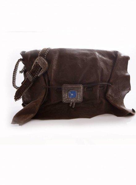 Etro Etro, grote bruine schoudertas met zilveren ornamenten/gespen en blauwe steen.