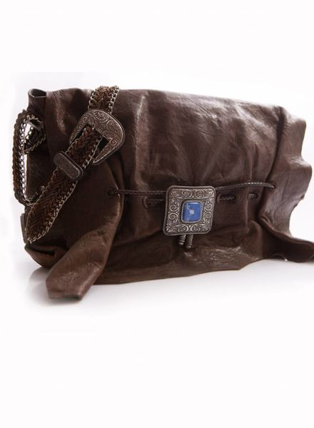 Etro Etro, brown shoulder bag with silver ornaments and blue stone.