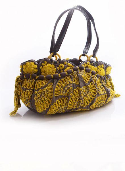 Jamin Puech Jamin Puech, grijs/gele handtas met stof en kralen en leren hengsel.