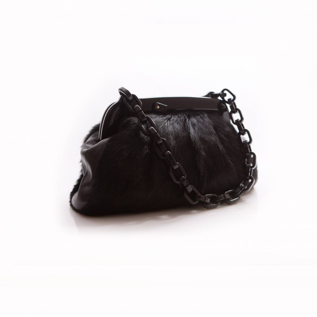 a98f0b1d66cf Chanel Chanel black fur bag with plastic chain and clasp with Chanel ...