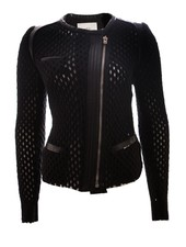 IRO IRO, black jacket with open weave and leather details in size 38/S.