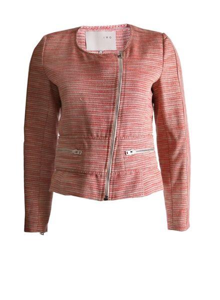 IRO IRO, roze gewoven blazer jasje met lurex en zilveren rits in maat 2/XS.