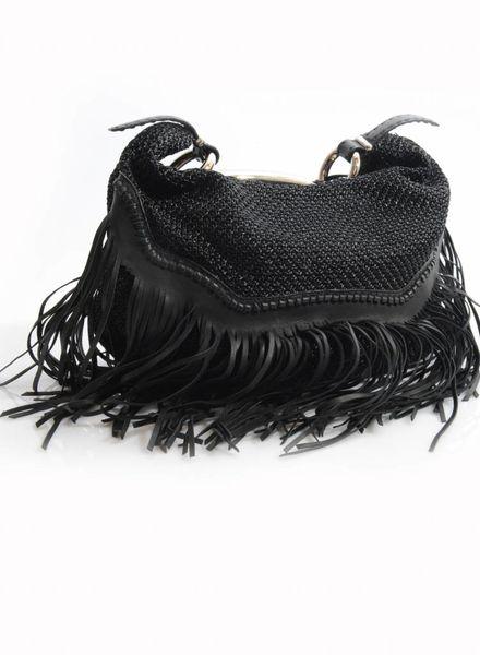Ermanno Scervinno Ermanno Scervinno, black woven handbag with silver handle and leather fringes.