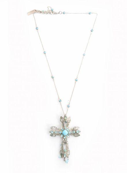 Dolce & Gabbana Dolce & Gabbana, ketting met zilver kruis en blauwe stenen.