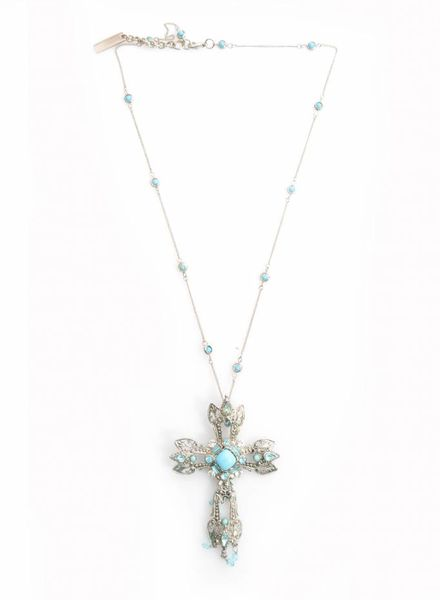 Dolce & Gabbana Dolce & Gabbana, necklace with silver cross and blue stones.