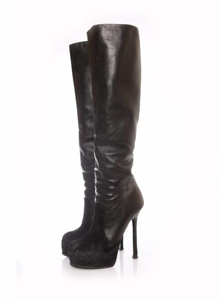 Yves Saint Laurent Yves Saint Laurent, black leather over knee boots in size 38.5.