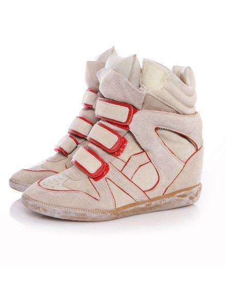 Isabel Marant Isabel Marant, zandkleurige sneaker wedge met rode details in maat 37.