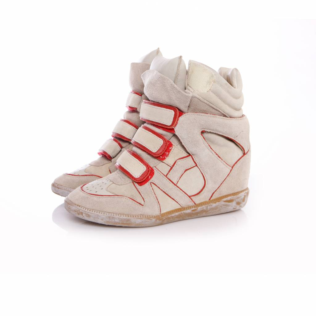 eb18ccc4a0 Isabel Marant, sand coloured sneaker wedge with red details in size 37.