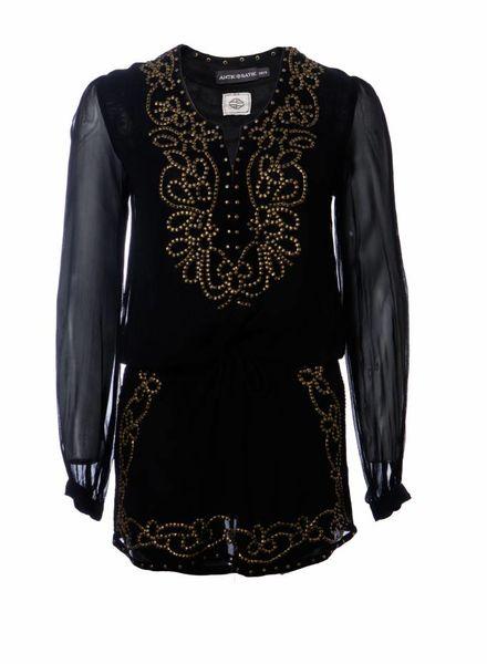 Antik Batik ANTIK BATIK, Zwarte tuniek jurk met brons kleurige studs in maat 38/S.
