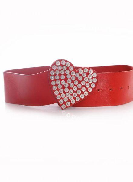 Moschino Moschino Jeans, rood leren riem met hartvormige gesp met drukknopen in maat 75.