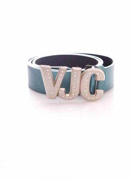 Versace Jeans Couture Versace Jeans Couture, turquoise leather metallic waist belt in size 70/85.