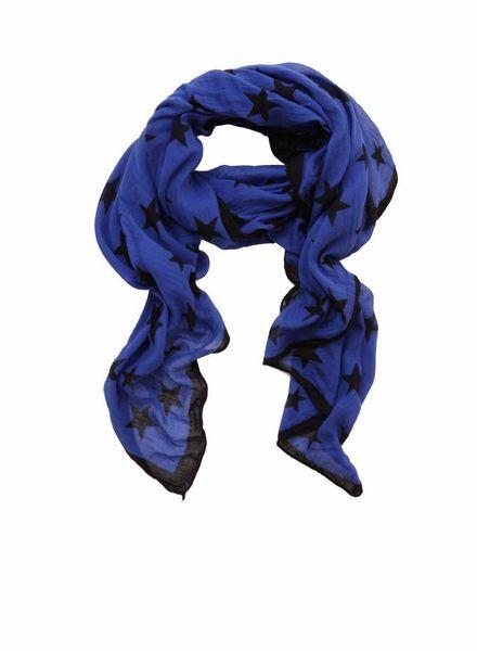 Rika Rika, blue scarf with black stars.