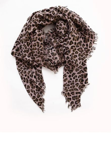 Rika Rika, scarf in old pink with kaki coloured leopard print and fringes all around.