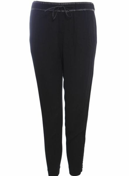 Helmut Lang Helmut Lang, black sportive pantalon with zippers and leather details in size 2/M.