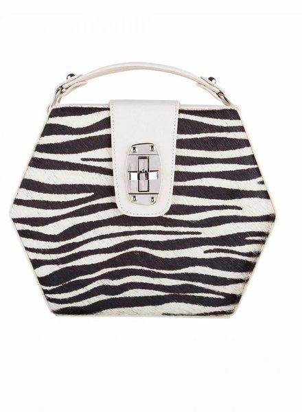 ByBordon By Bordon, beige leren Charlee tas met zebra print in zwart/wit.