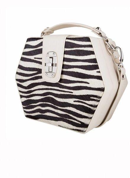 ByBordon By Bordon, beige leather zebra print Charlee bag in black and white.