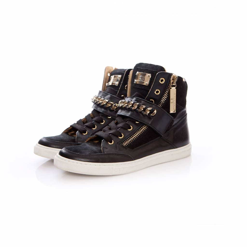 disponibilità nel Regno Unito c0001 22dde Elisabetta Franchi Elisabetta Franchi, black suede/leather sneakers with  golden chain on a velcro strap in size 37.