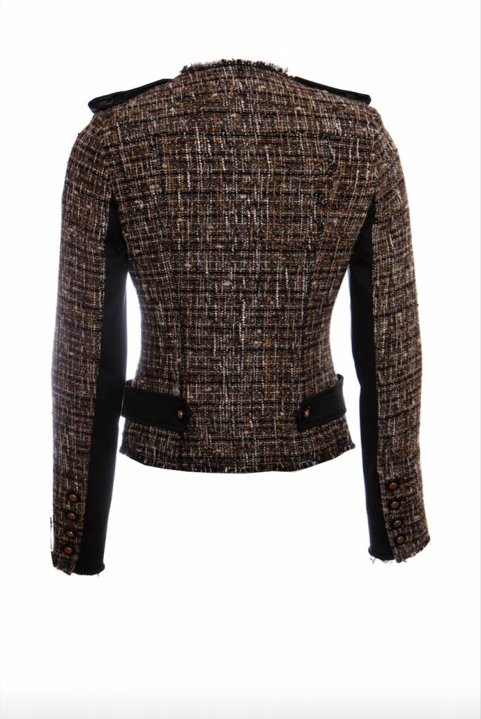 Pinko Pinko, Brown military boucle jacket with sequinned buttons in size  I42/S