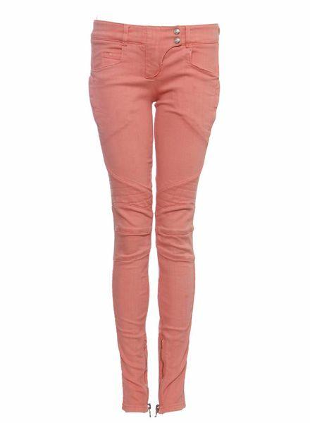 Balmain Balmain, roze biker jeans met zilveren hardware in maat FR38/S.