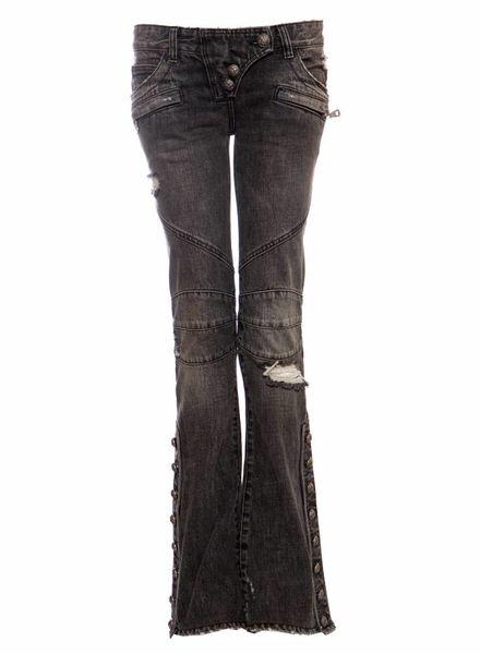 Balmain Balmain, grijze biker jeans met flair pijp en zilveren hardware in maat FR38/S.
