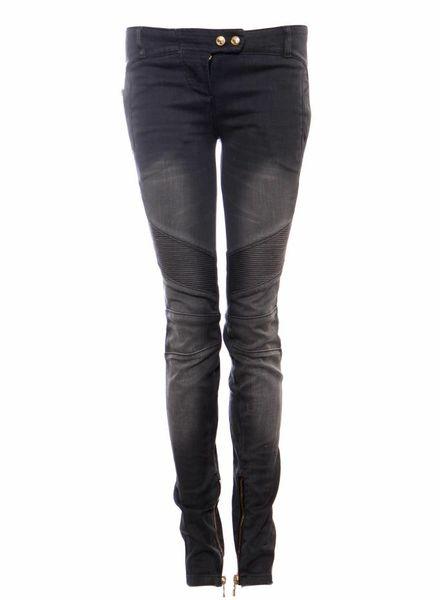 Balmain Balmain, grijze biker jeans met gouden hardware in maat FR38/S.