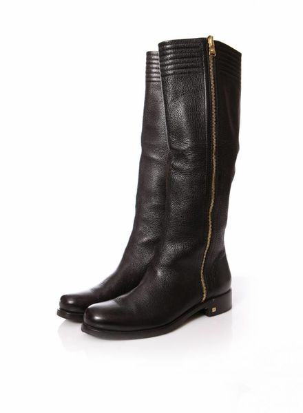 Louis Vuitton Louis Vuitton, Black grained leather boots in size 38.5.