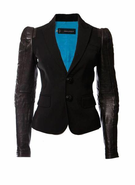 Dsquared2 Dsquared2, zwart colbert jasje met leren mouwen.