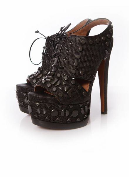 Alaïa Alaia, black woven laced up platform sandals with studs in size 37.