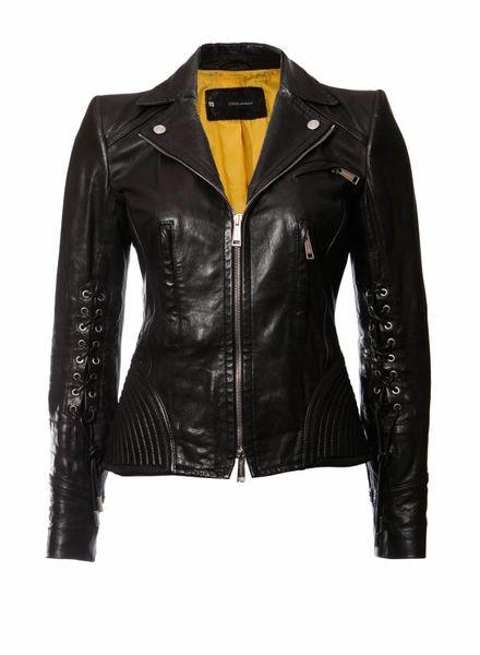 Dsquared2 Dsquared2, zwart leren biker jasje.