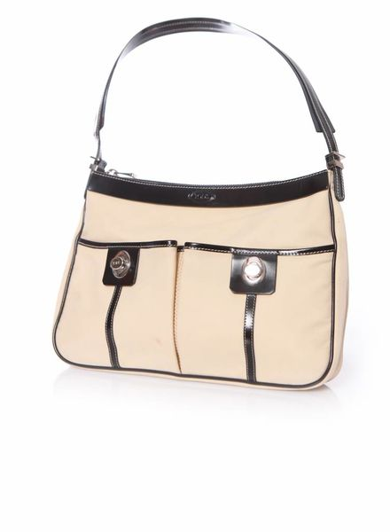 Tod's Tods, Beige canvas shoulder bag with black patent leather details and silver hardware.