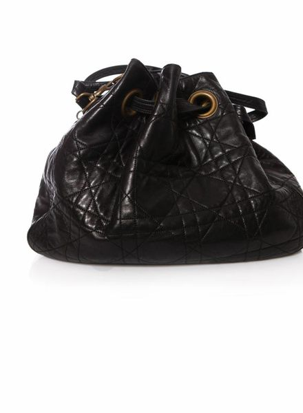 Dior Dior, black cannage quilted satchel bag with golden hardware.