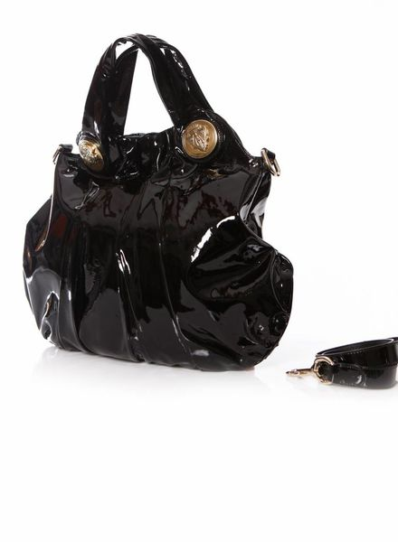 Gucci Gucci, Black patent leather Hysteria Crest two way bag.