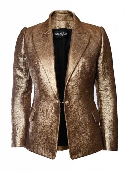 Balmain Balmain, Goude blazer met lurex in maat 42FR/M.