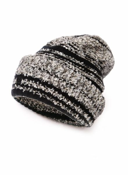 Chanel Chanel, black/grey cashmere boucle beanie.