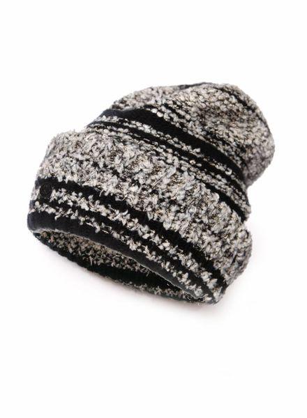 Chanel Chanel, zwart/grijze cashmere boucle muts.