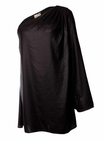 Elizabeth & James Elisabeth & James, zwart glanzend jurkje met een mouw in maat L.