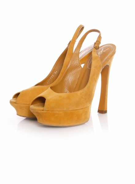 Yves Saint Laurent Yves Saint Laurent, Ochre suede peep-toe slingback sandals in size 39.