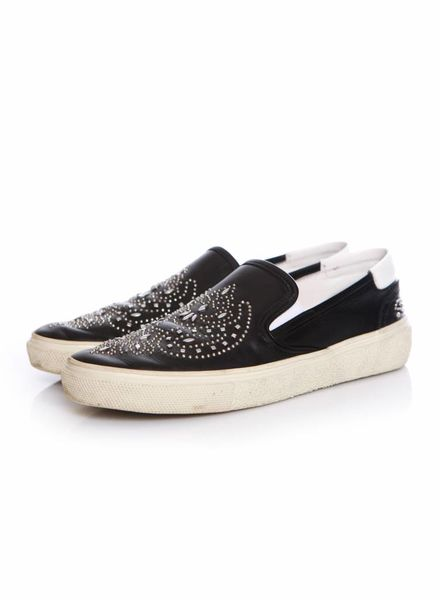Saint Laurent Saint Laurent, black leather slip on sneakers with studs in size 39.