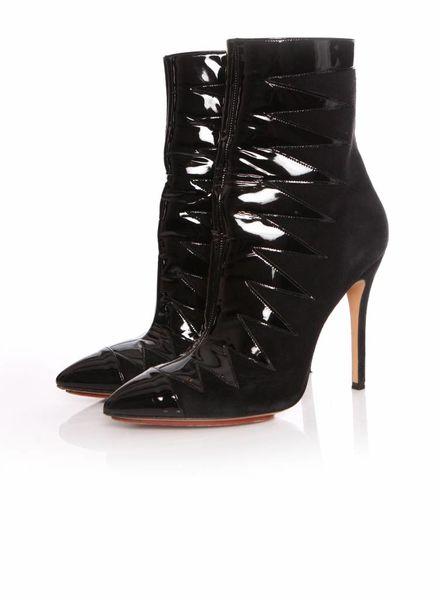 Sophia Webster Sophia Webster, black suede/patent leather boots in size 39.