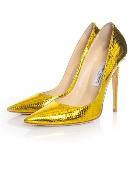 Jimmy Choo Jimmy Choo, Anouk metallic gold watersnake pumps in size 40.