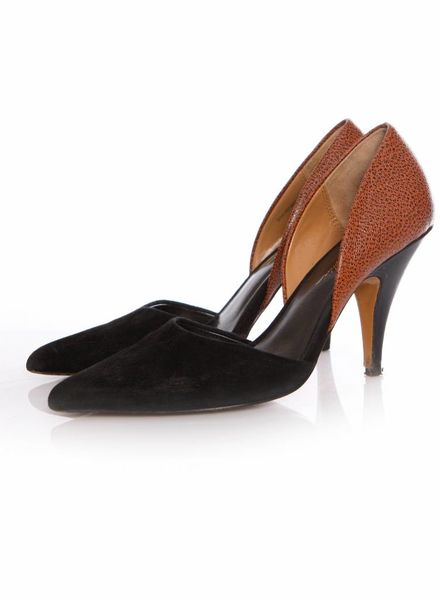 Phillip Lim Phillip Lim, black/cognac colored pump in leather/suede in size 39.