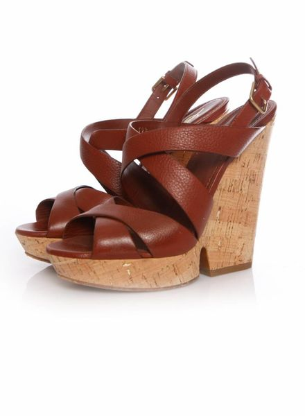 Yves Saint Laurent Yves Saint Laurent, Deauville brown leather wedge with cork in size 39.5.