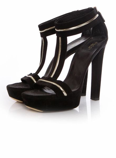 Gucci Gucci, black suede platform sandals with gold leather details in size 39.