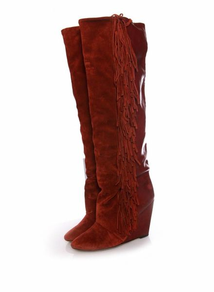 Isabel Marant Isabel Marant, Bordeaux leather/suede fringe wedge boots in size 39.