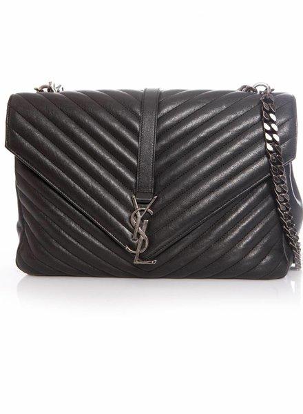 Saint Laurent Saint Laurent, Classic Large College bag in dark anthracite matelasse leather.