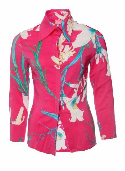 Gianfranco Ferre Ferre jeans, roze bloes met bloemenprint in maat S.