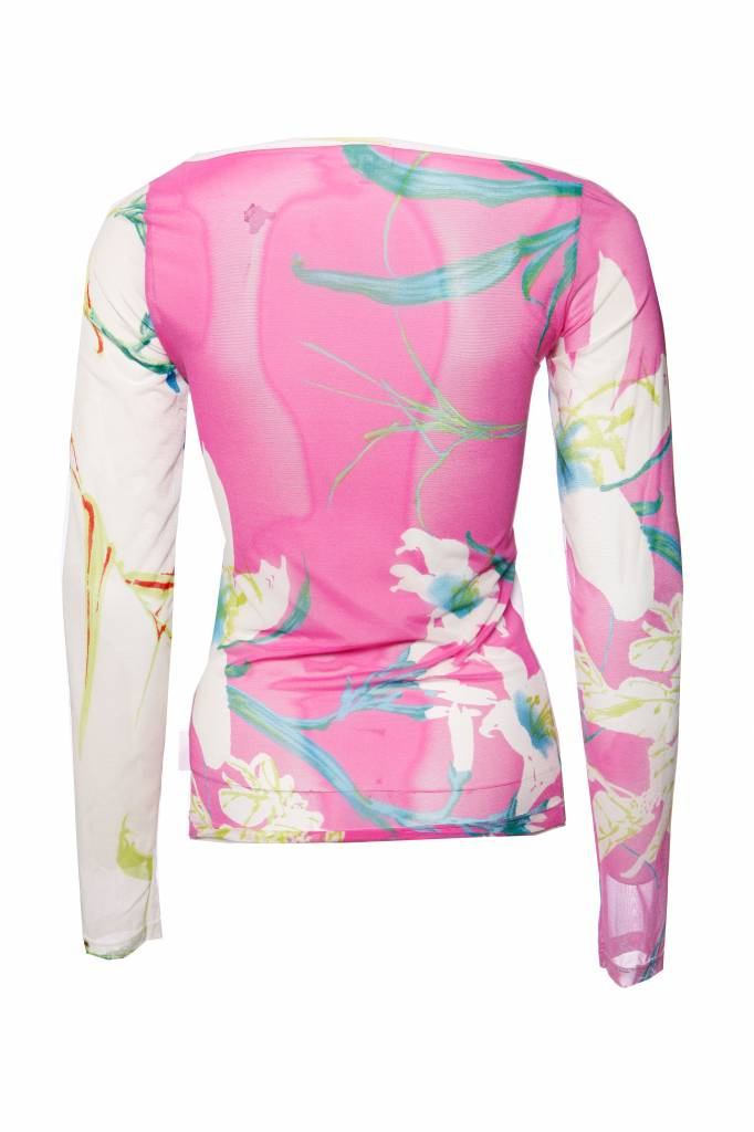 31552f69ff ... Gianfranco Ferre Ferre jeans, semi transparante top met bloemenprint in  maat S. ...