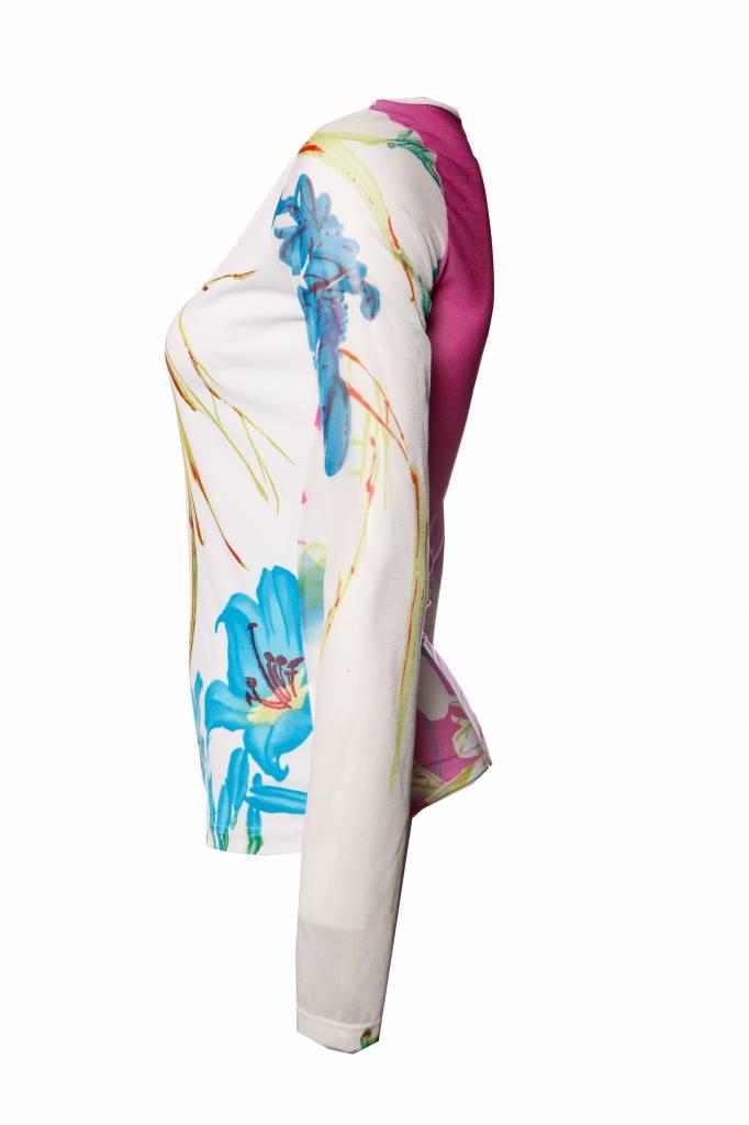 adee8597d4 ... Gianfranco Ferre Ferre jeans, semi transparante top met bloemenprint in  maat S.